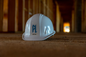 construction hat on the floor of a hotel under construction