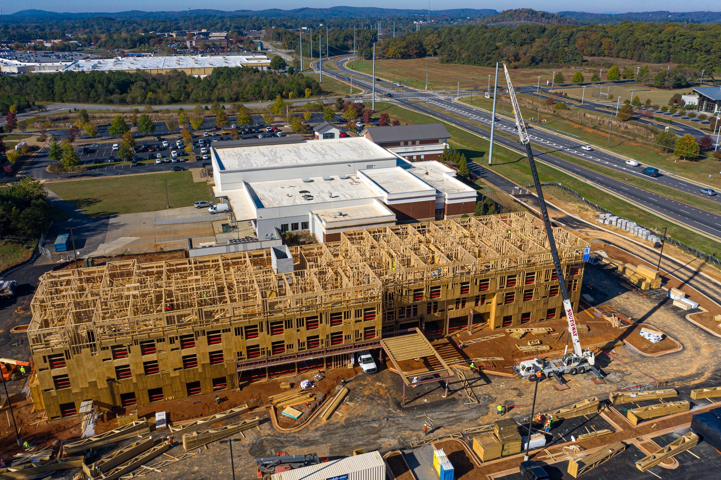 aerial photo of a marriott hotel under construction in cartersville georgia