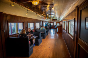 traincar seating and bar area